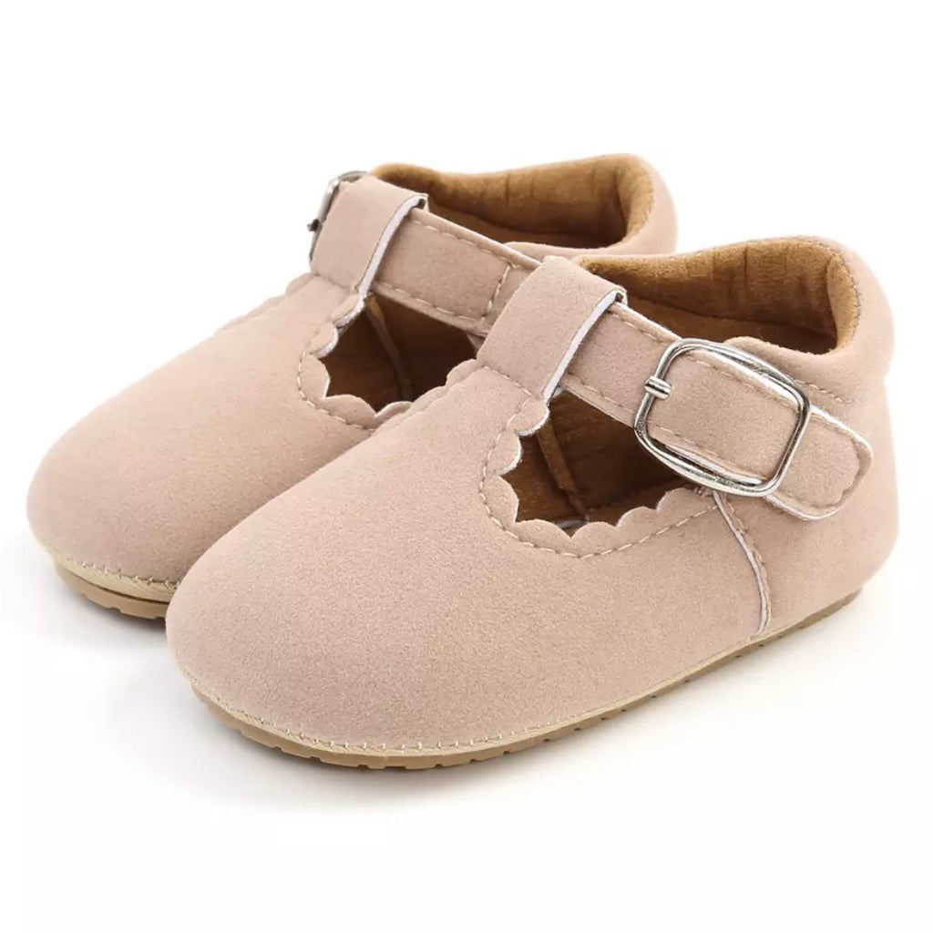 Mary Jane Vegan Suede First Walkers in Dusty Pink
