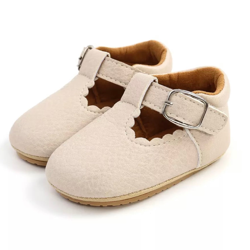 Mary Jane Vegan Leather First Walkers in Vanilla