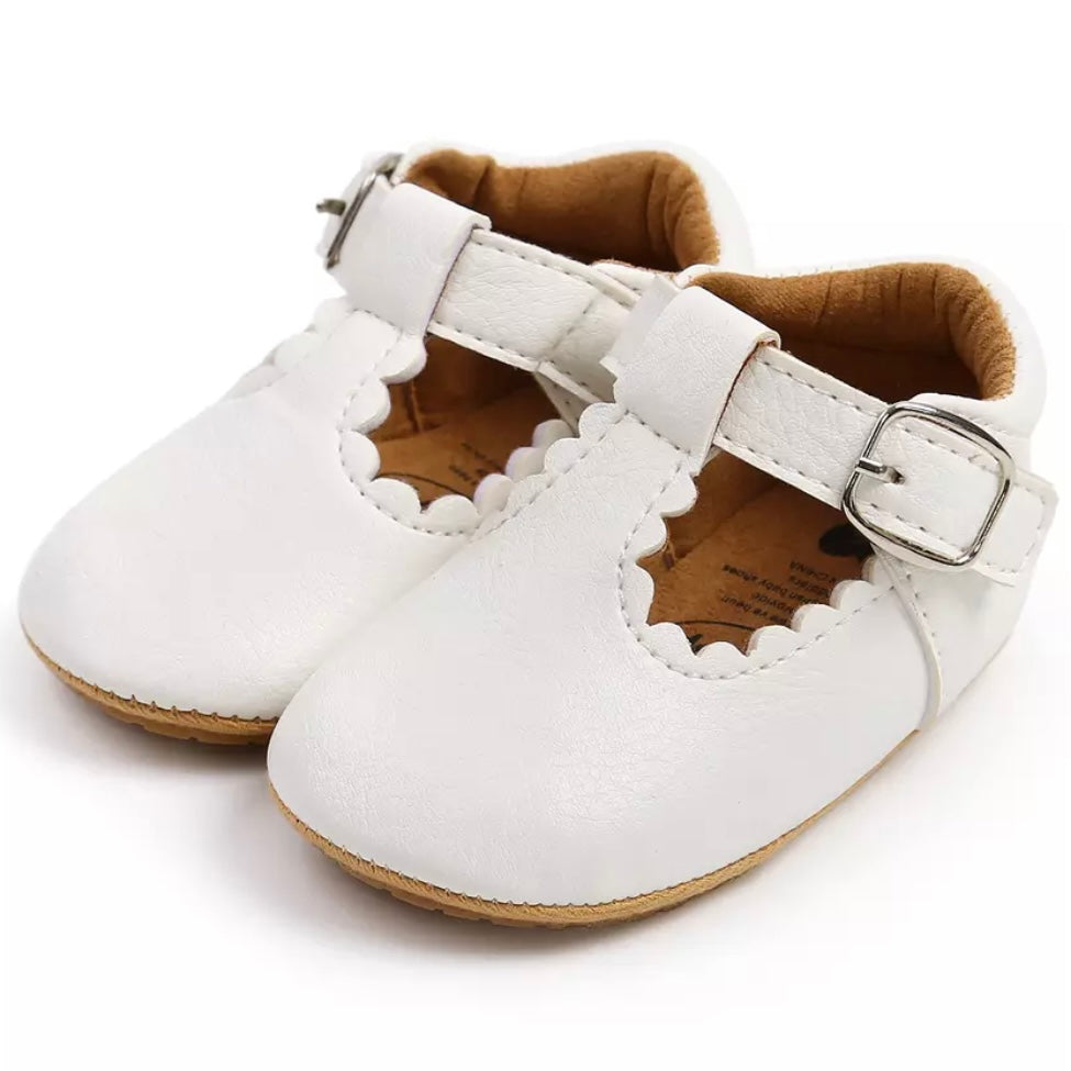 Mary Jane Vegan Leather First Walkers in White