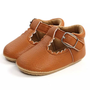 Mary Jane Vegan Leather First Walkers in Cognac