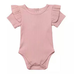 Essential Ruffle Bodysuit - Pink Short Sleeve