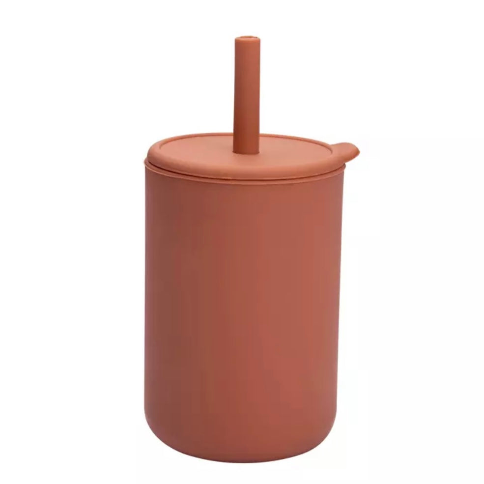 BPA Free Silicone Sippy Cup with Straw in Terra-cotta