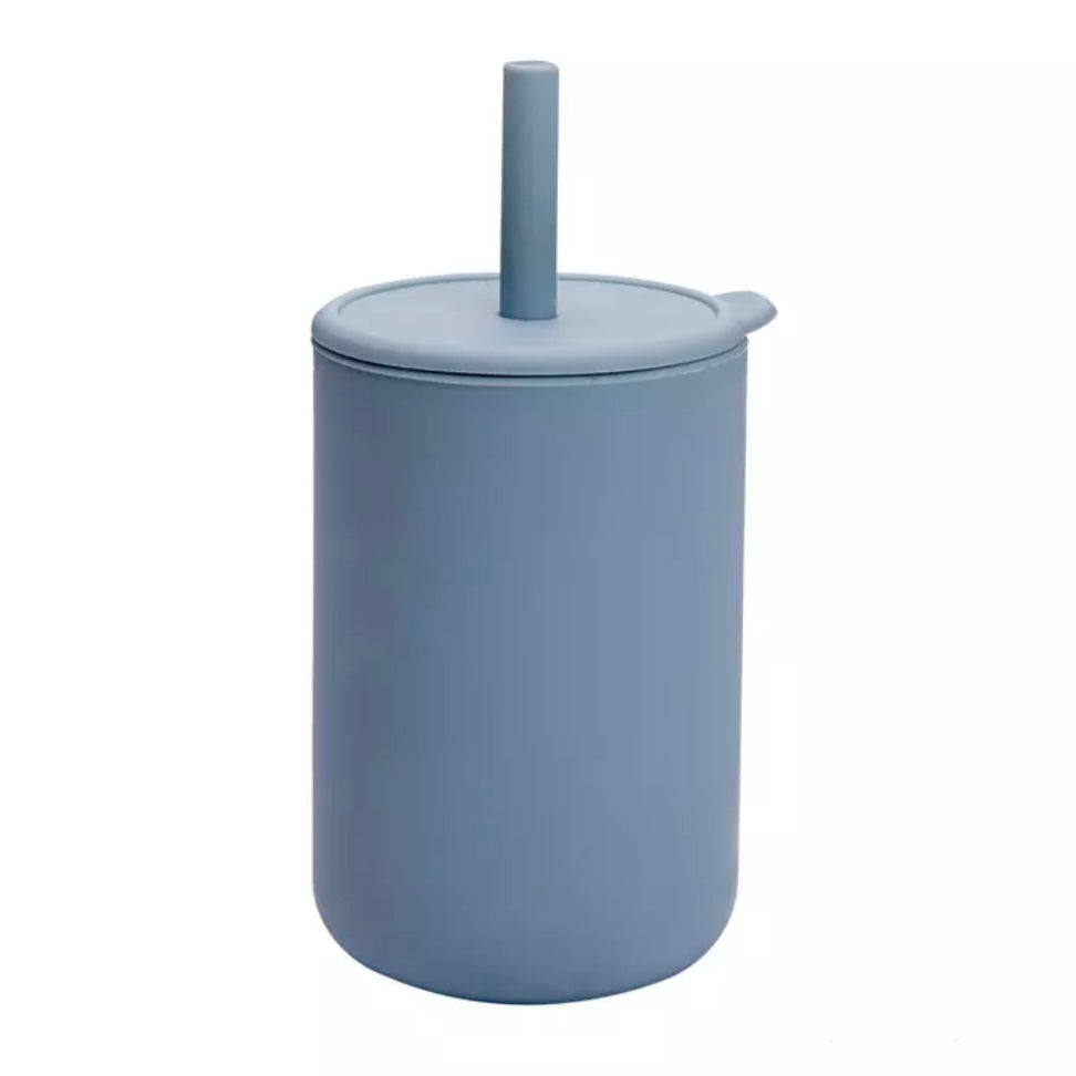 BPA Free Silicone Sippy Cup with Straw in Powder Blue