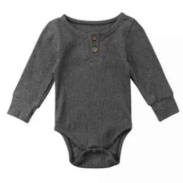 Essential Button Bodysuit in Charcoal