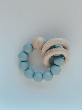 Silicone & Beech Teething Ring in Powder Blue