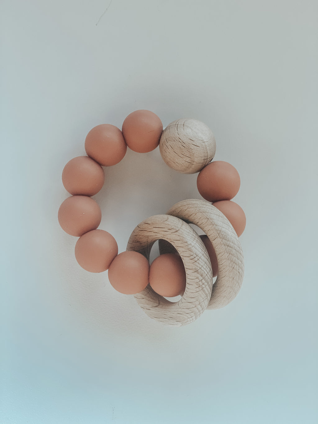 Silicone & Beech Teething Ring in Terra-cotta