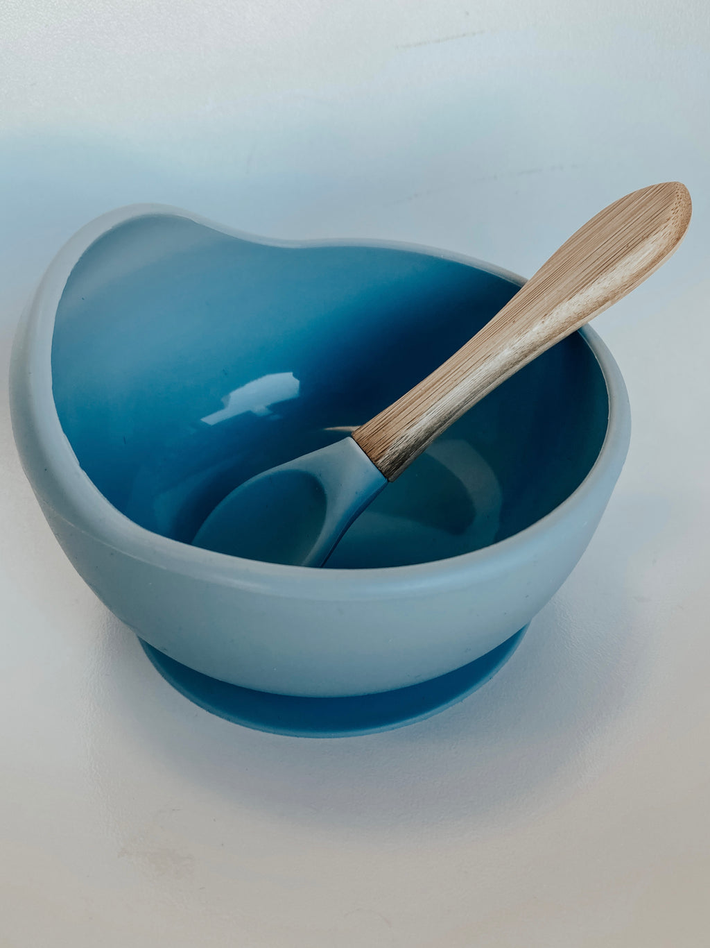 Silicone Suction Bowl & Spoon Set in Powder Blue