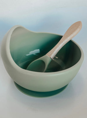 Silicone Suction Bowl & Spoon Set in Matcha