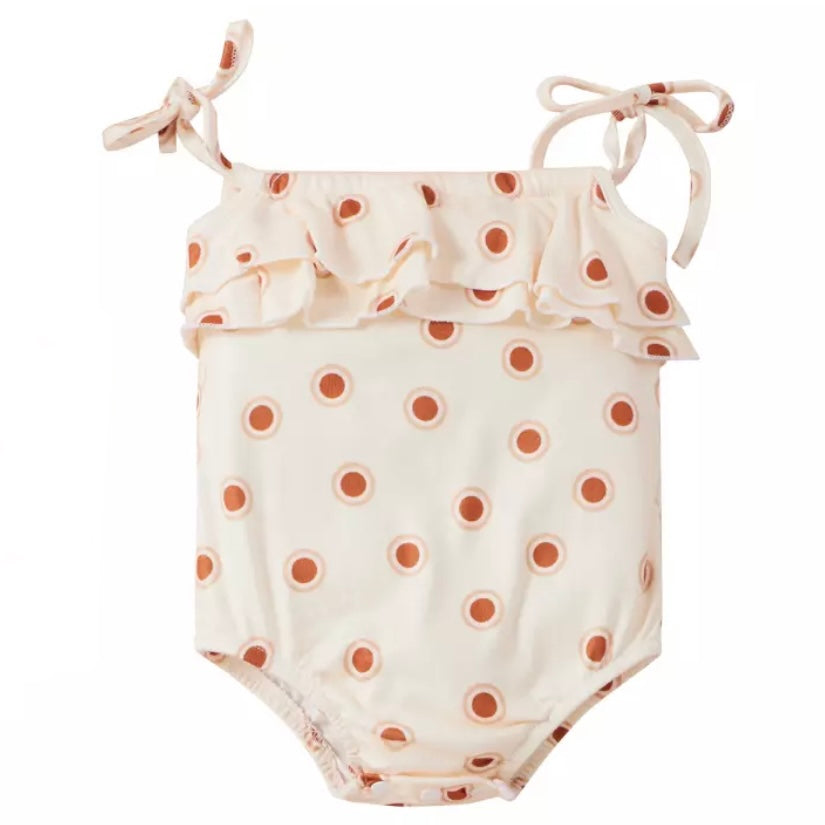 Buttery Soft Ruffle Bodysuit in Vintage Dots
