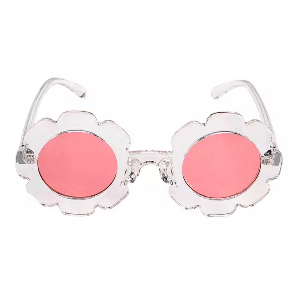Retro Flower Sunnies in Clear with Pink Shades