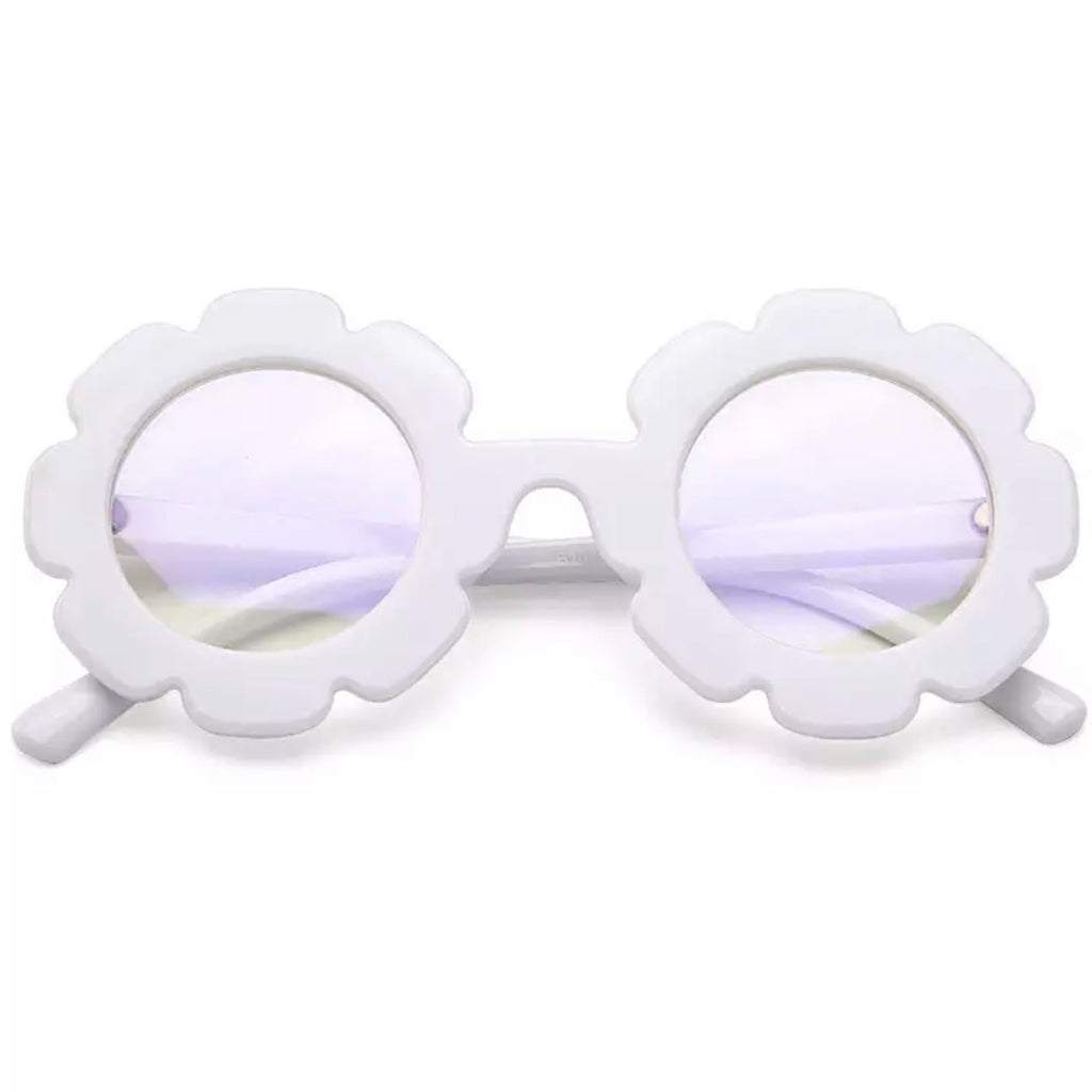 Retro Flower Sunnies in White with Opaque Shades