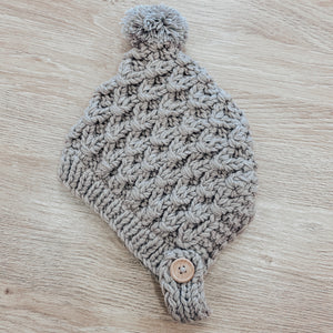 Unisex Crochet Baby Pom Hat in Grey