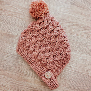 Unisex Crochet Baby Pom Hat in Rose