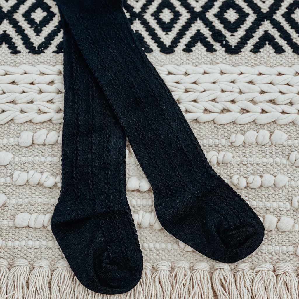 Cable Knit Nylon Tight in Black