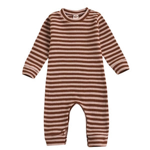 Gender Neutral Ribbed Stripe Playsuit in Rust + Blush