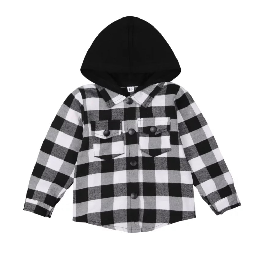 Black Check Hooded Shacket