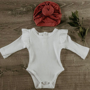 Essential Ruffle Onesie - White Long Sleeve
