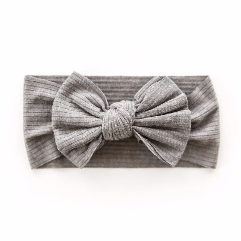 Ribbed Bow Headband in Grey