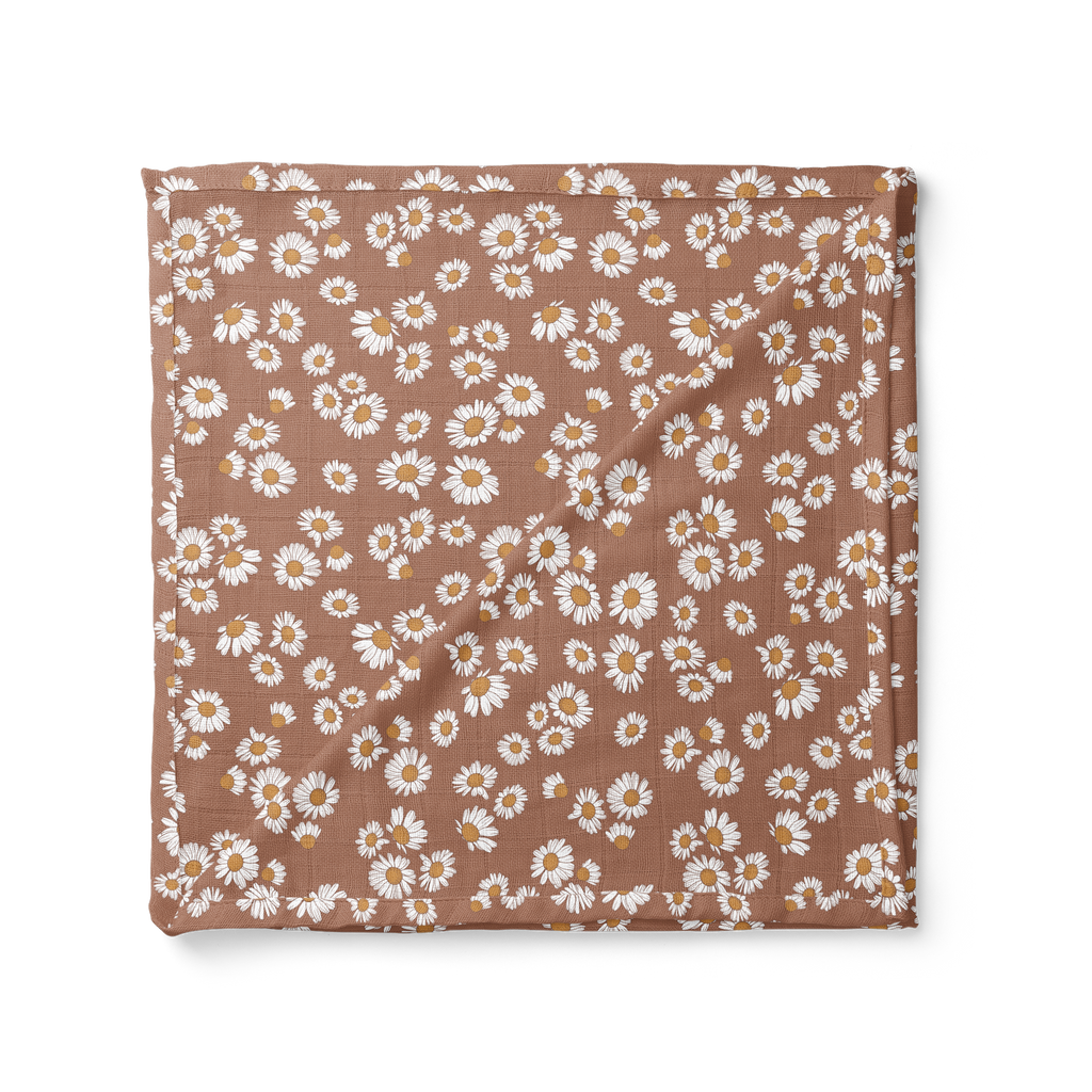 Muslin Swaddle Baby Blanket – Daisy Clay Brown