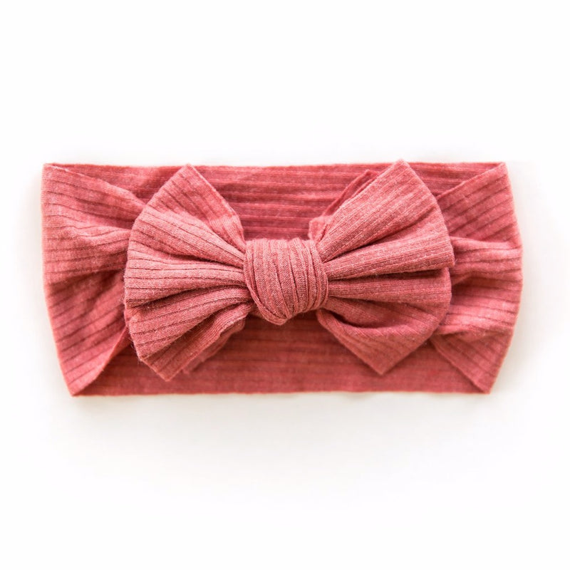 Ribbed Bow Headband in Brick