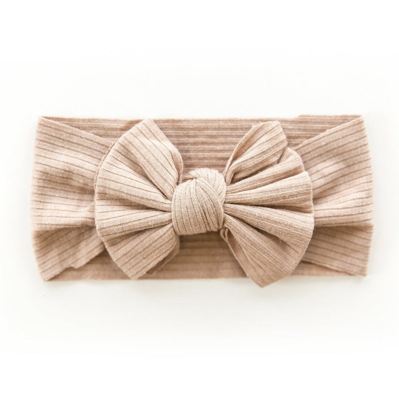 Ribbed Bow Headband in Carmel
