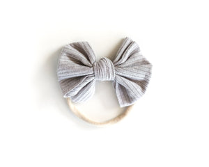 Ribbed Nylon Bow in Light Grey
