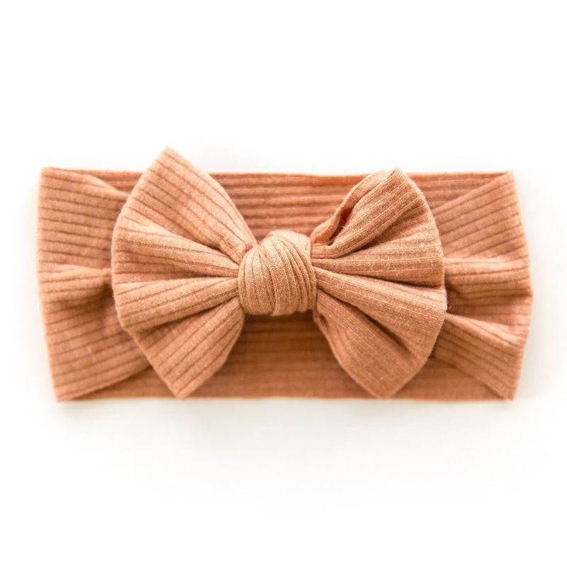 Ribbed Bow Headband in Terra-cotta