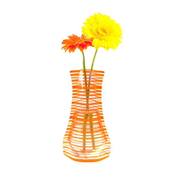 Tall Orange Stripe Outdoor Vase