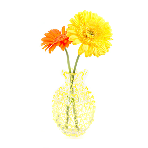 Yellow Damask Outdoor Bud Vase