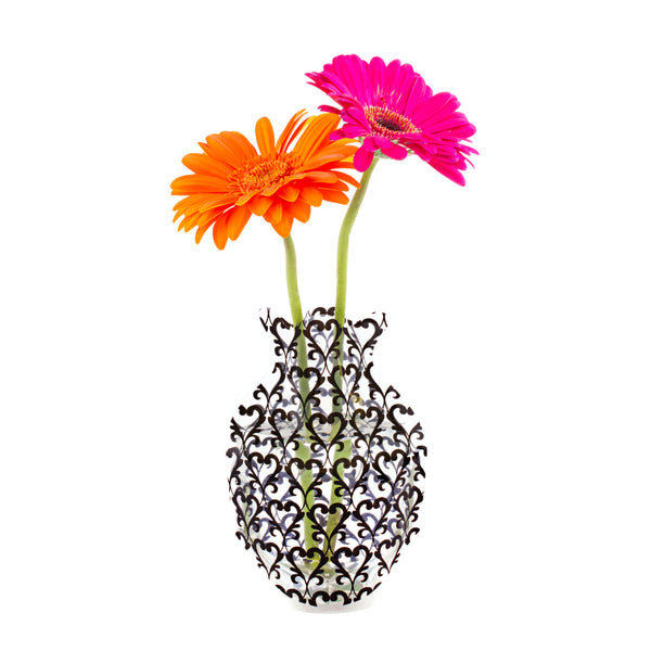 Black Damask Outdoor Bud Vase