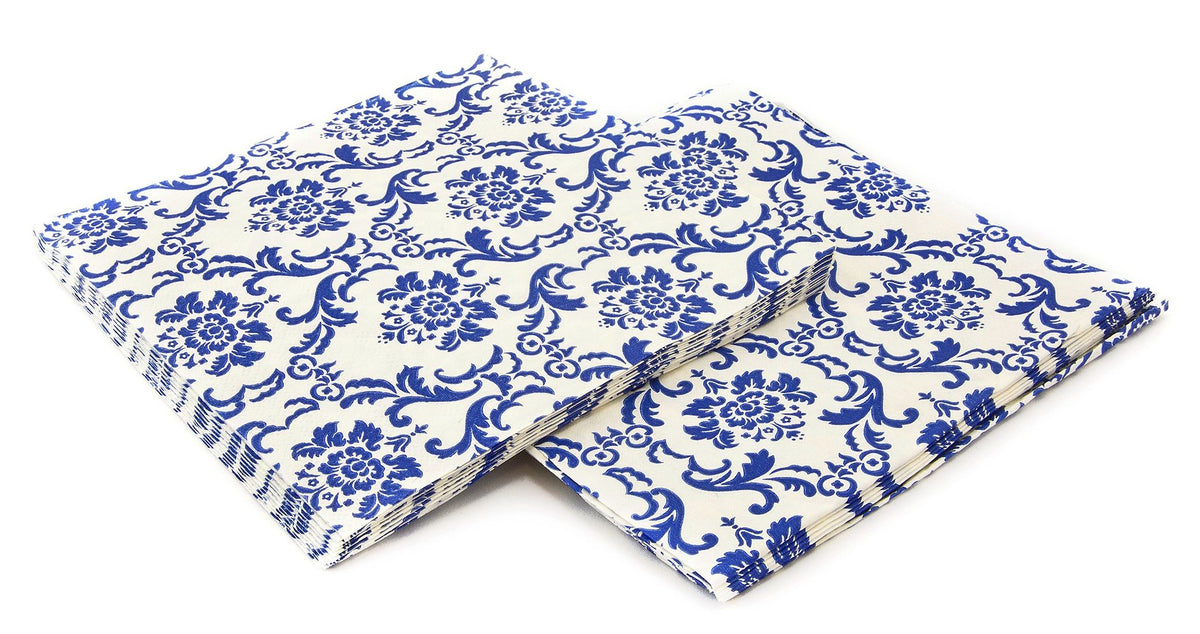 Blue & White Damask Napkins
