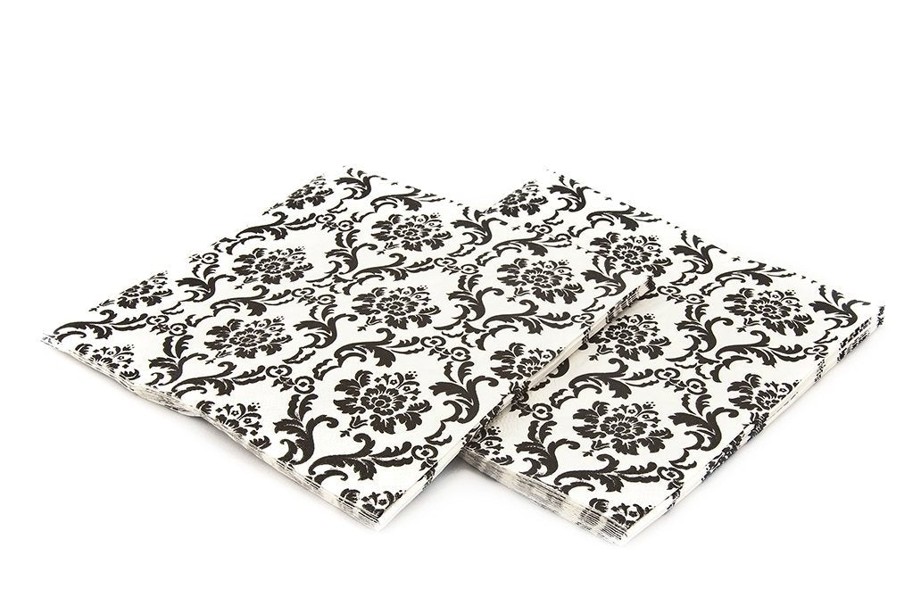 Black & White Damask Napkins