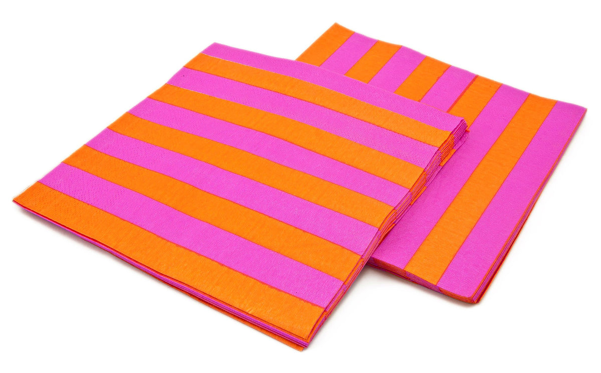 Pink & Orange Striped Napkins