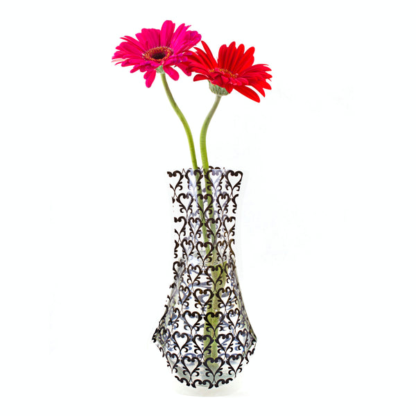Tall Black Damask Outdoor Vase