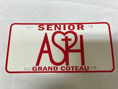 ASH Seniors Red License Plate