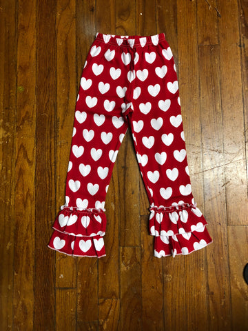 Youth Girls Red & White Heart ruffle pants