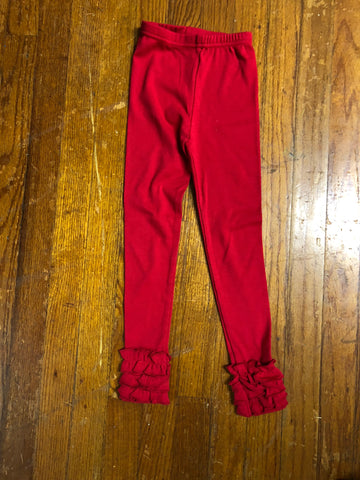 Youth Girls Red Ruffle Leggings