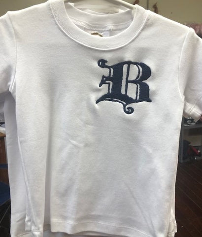 "Toddler Boy Short Sleeve Shirt with ""B"""