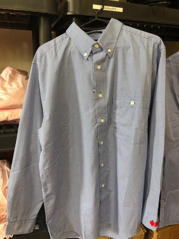 Blue and White micro check Oxford Shirt