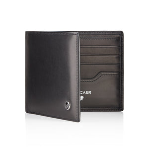 Luxury calfskin leather wallet in black - 8 card slot
