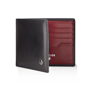 Luxury calfskin leather wallet in black and burgundy - 8 card slot