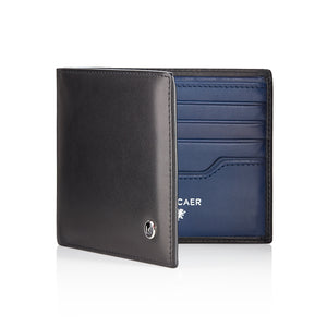 Luxury calfskin leather wallet in black and blue - 8 card slot