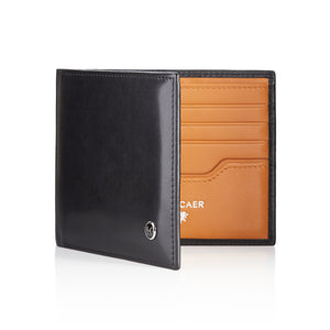 Luxury calfskin leather wallet in black and orange - 8 card slot