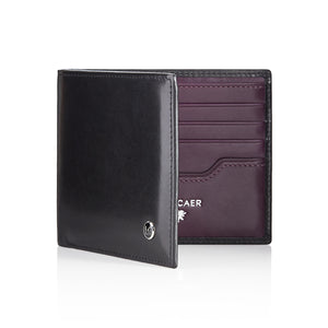 Luxury calfskin leather wallet in black and purple - 8 card slot