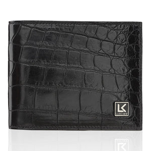 Crocodile Leather Wallet in Black - 6 Card Slot