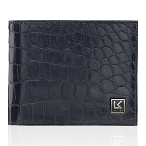 Crocodile Leather Wallet in Blue - 6 Card Slot