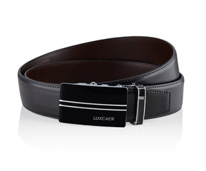 LUXCAER Italian leather automatic buckle dress belt