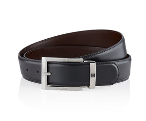 LUXCAER LC Italian leather dress belt in black