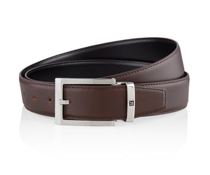 LUXCAER LC Italian leather dress belt in brown