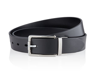 LUXCAER Italian vegetable tanned leather belt in black rounded pin buckle